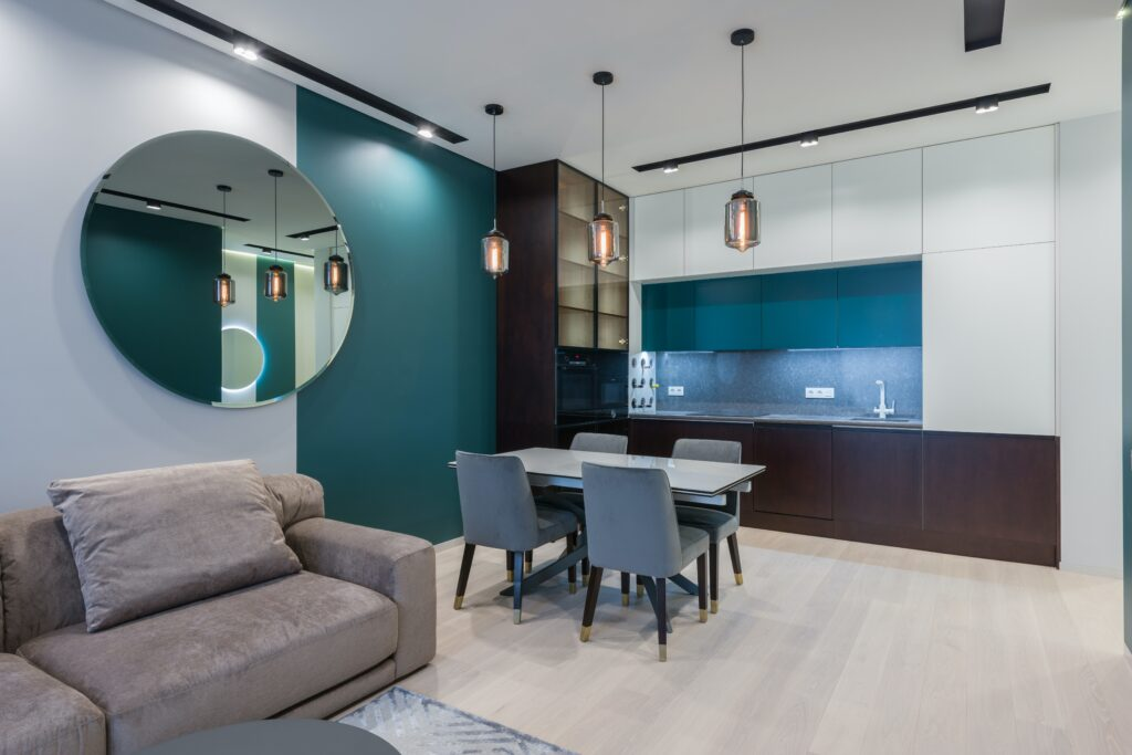 Dining area with light color toned cabinets