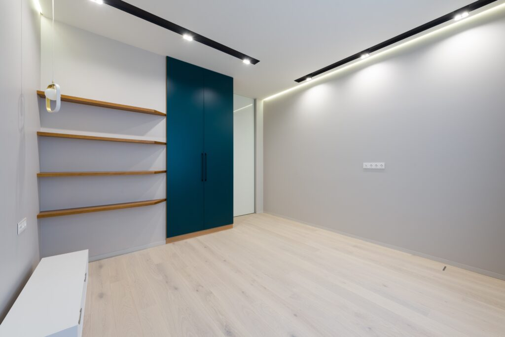 A room with closet and lights