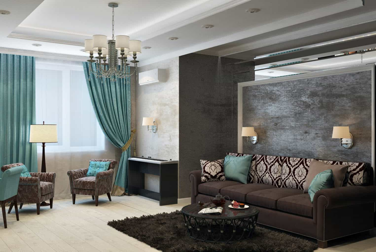 A dark toned living room with sofa and a blue green curtain