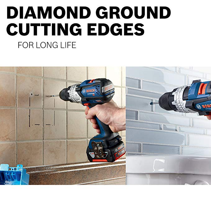 Person using a drill to cut into tiles