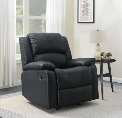 Leather wall hugger recliner