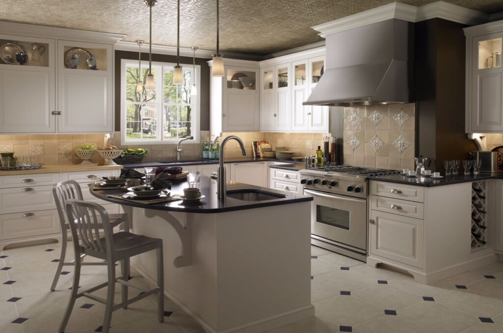Kitchen with white painted wooden cabinets