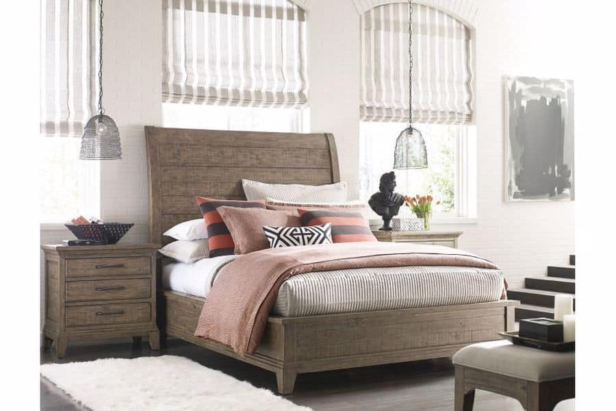 Bed with wooden frames and accents