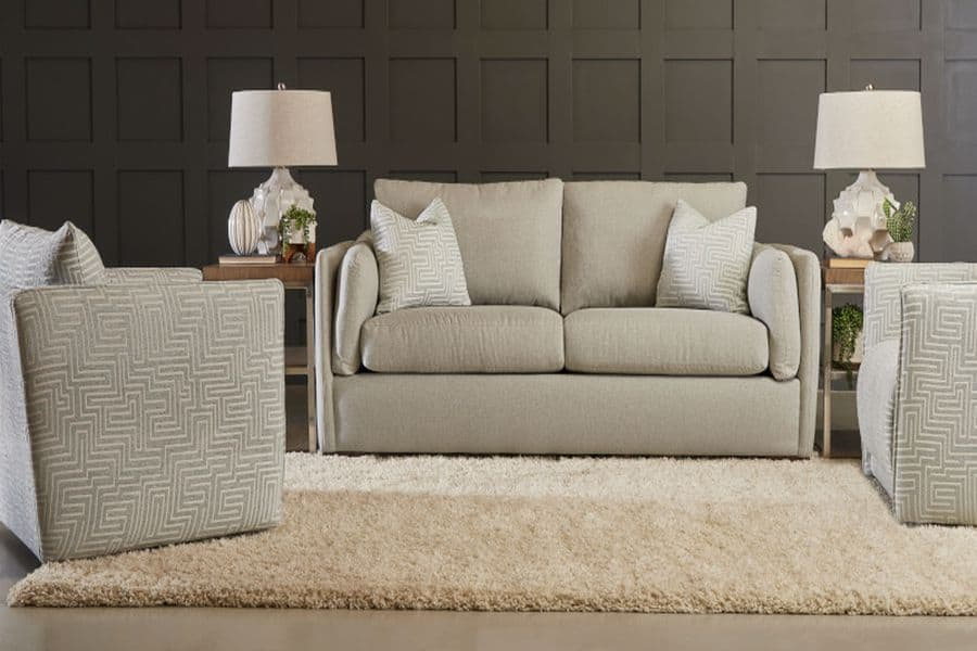 Living room space furnished with Klaussner Furniture