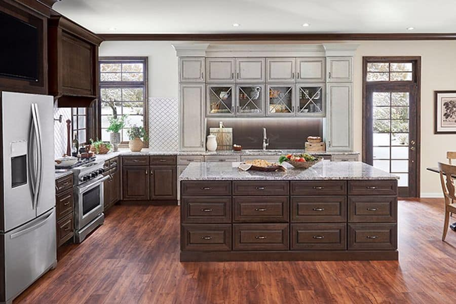 Kitchen with wooden cabinet furnishings