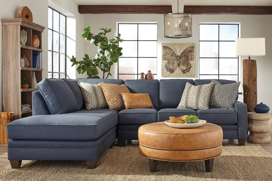 Smith Brothers sofa set in blue