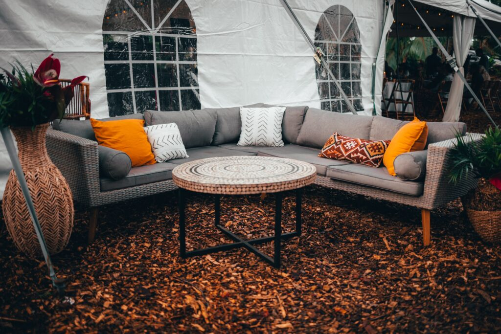 Outdoor sofa and round table