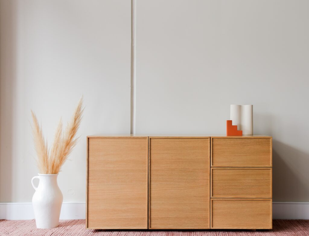 a simple brown cabinet