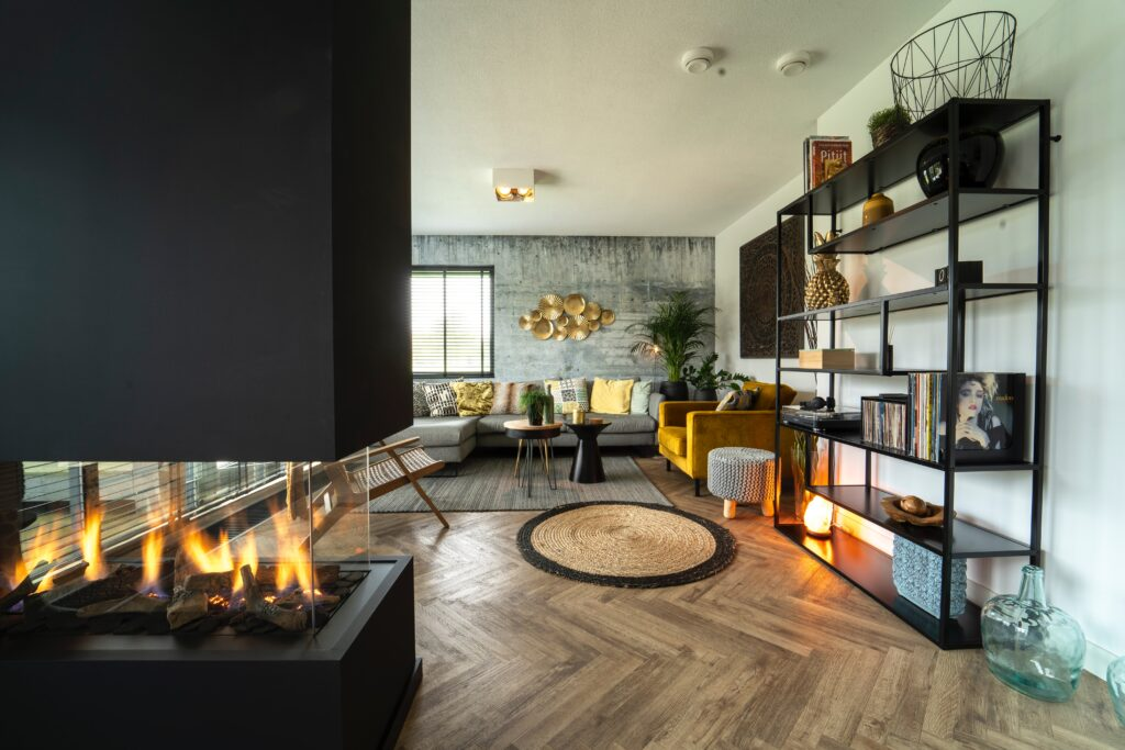 Living room with sofas and fireplace