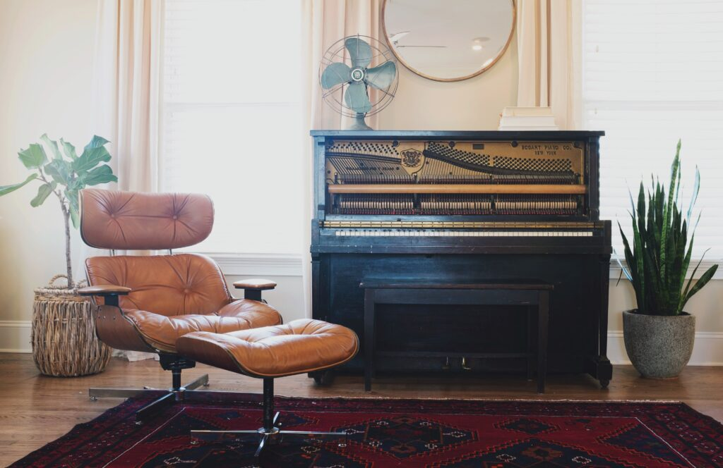 A recliner with with piano