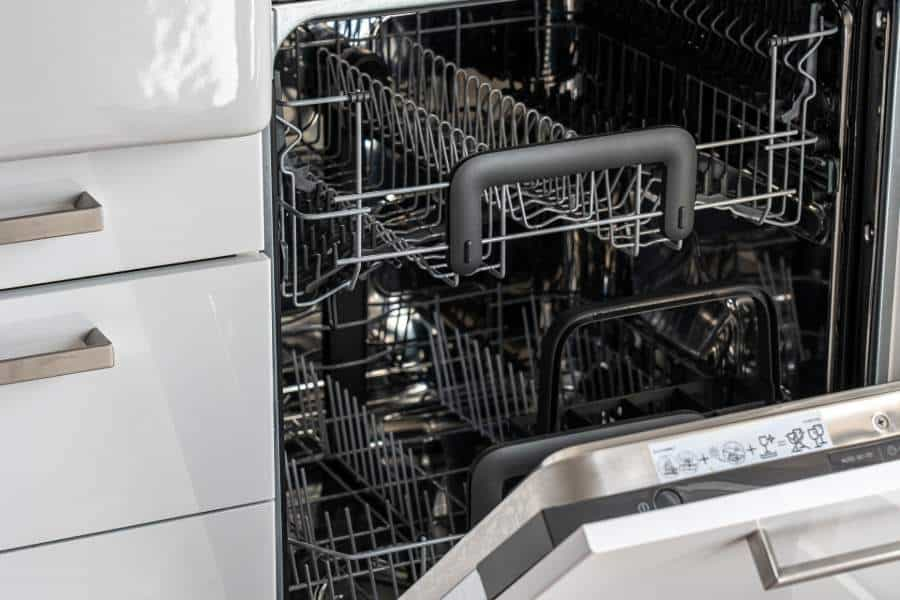 A view inside of a dishwasher