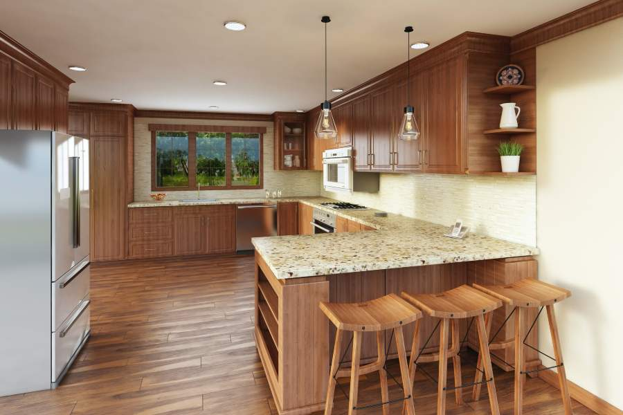 Wooden kitchen counter tops and flooring