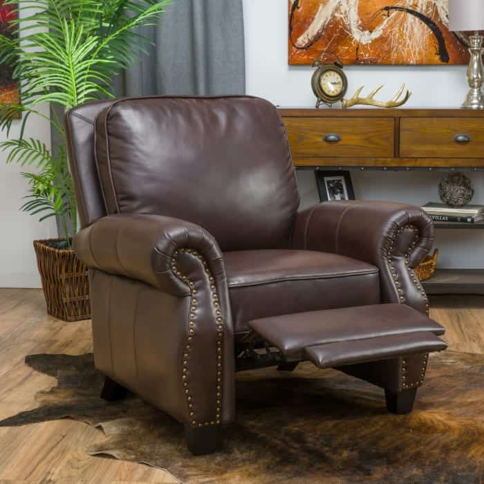 Pier 1 brown faux leather push back recliner