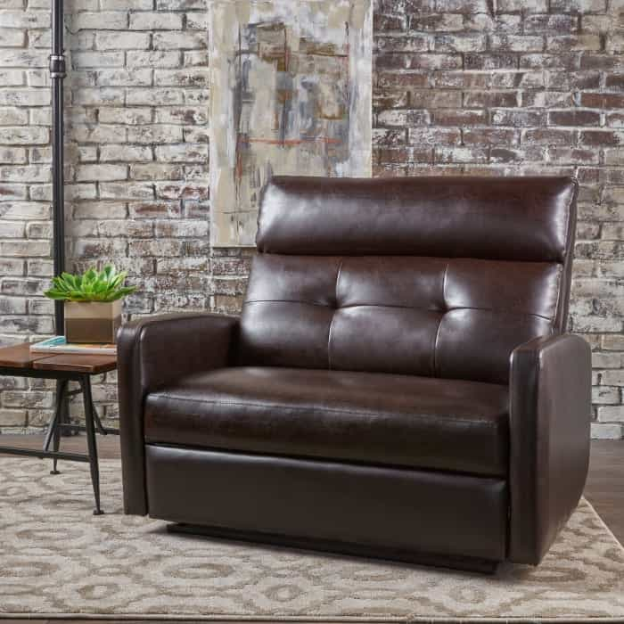 Pier 1 browl leather reclining loveseat