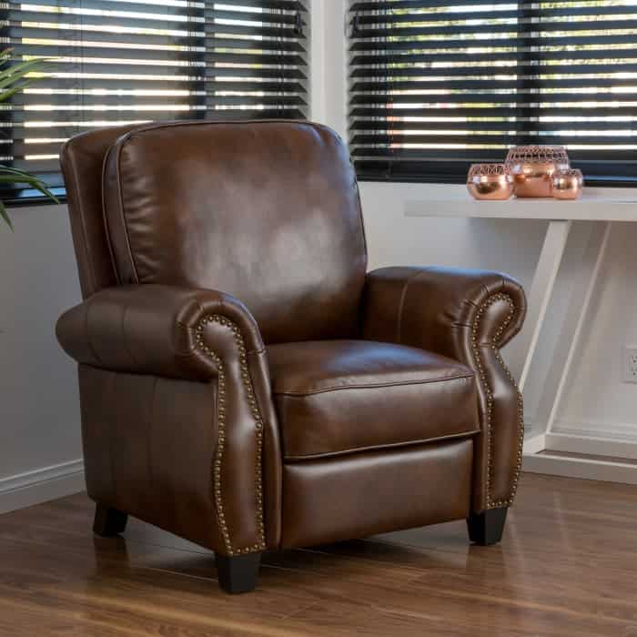 Brown PU leather push back recliner