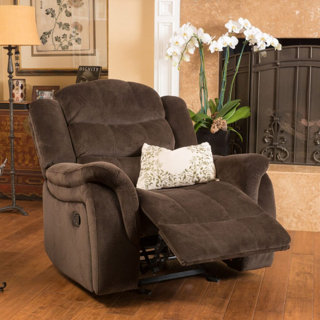 Pier 1 chocolate upholstered gliding recliner
