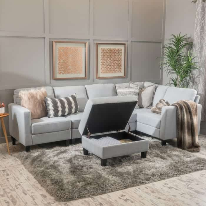 Pier 1 Online gray sectional with ottoman