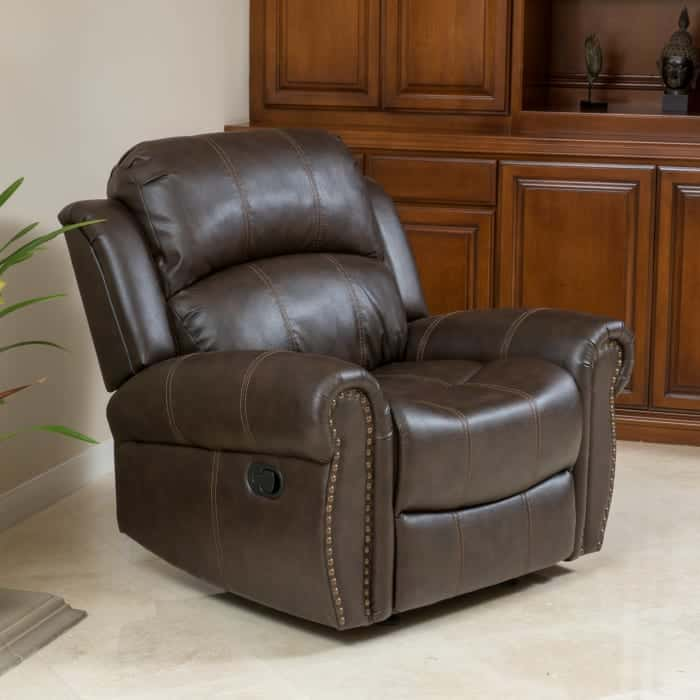 Pier 1 Brown faux leather gliding recliner