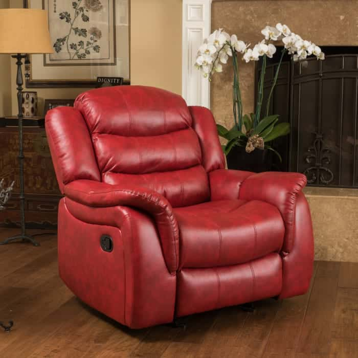 Pier 1 red faux leather gliding recliner
