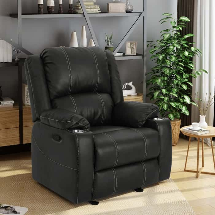 Pier 1 black leather recliner with cup holder