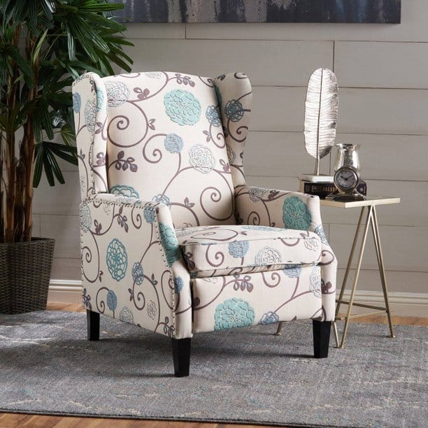Pier 1 white and blue floral traditional recliner