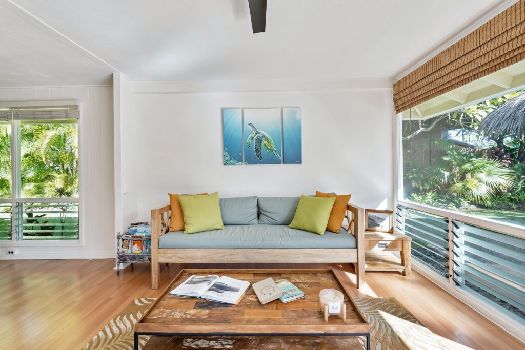 Living room with wooden furniture and outdoor view