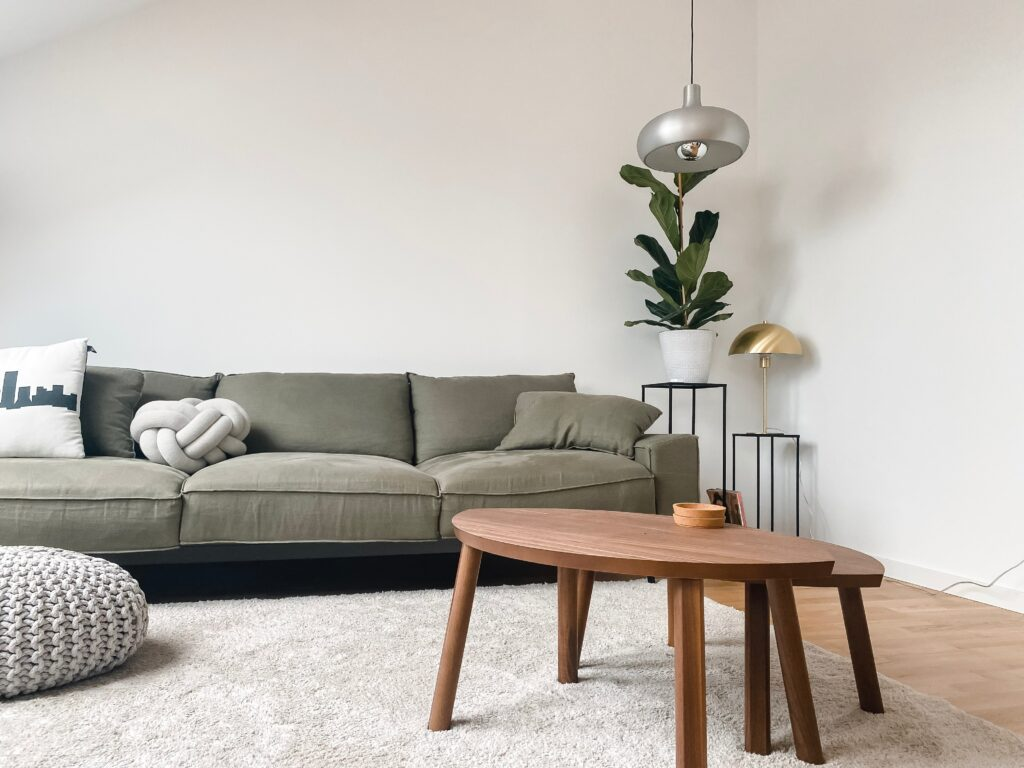 Living room with gray sofa and tables