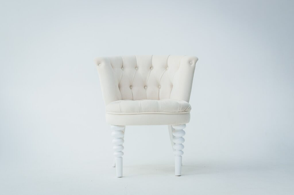 A white chair with white background