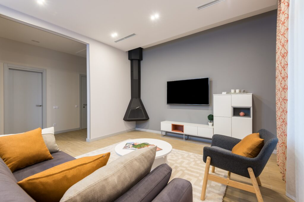 Living room with furniture and fireplace