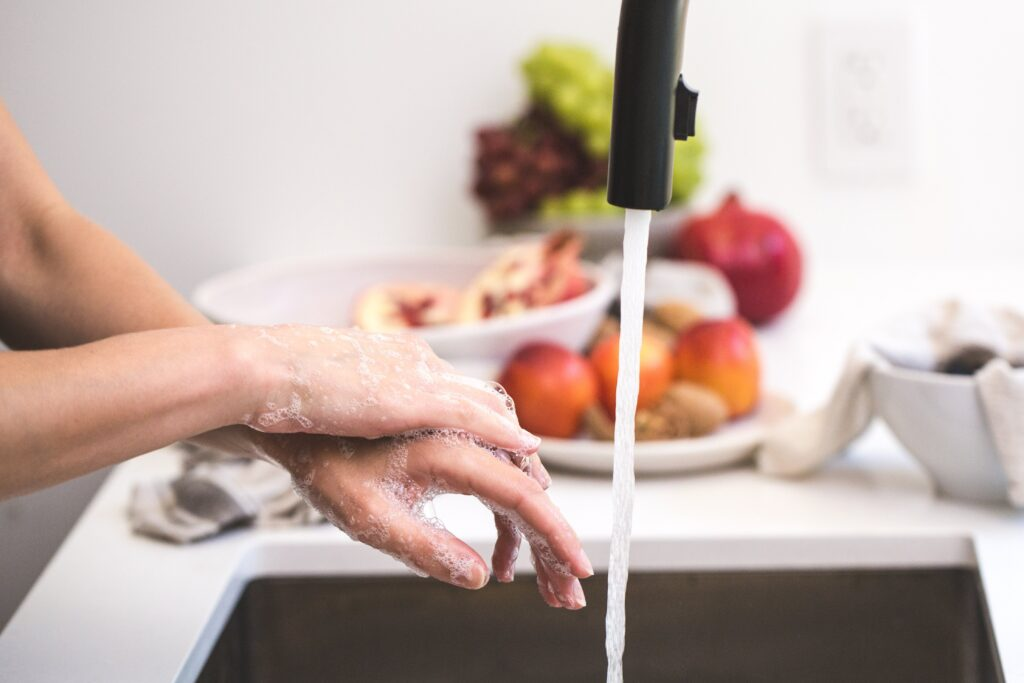 A kitchen faucet with washing hands