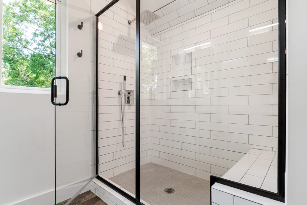 A shower with a window