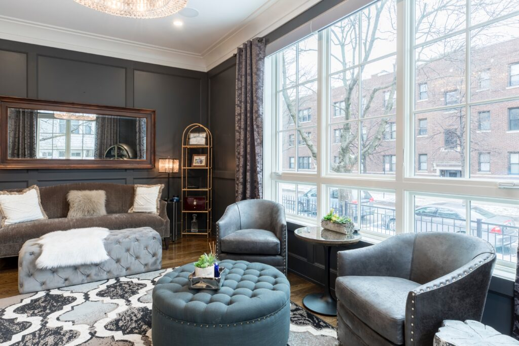 Gray toned furniture near the window