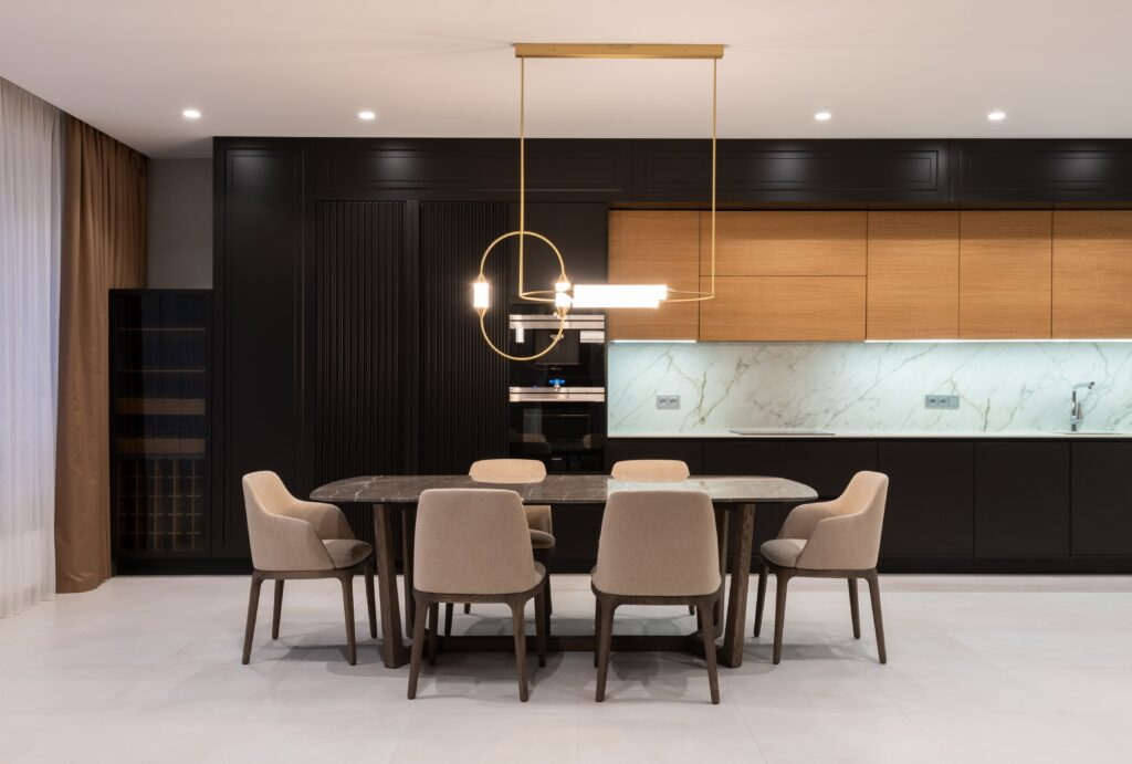 Dining area with ceiling lights