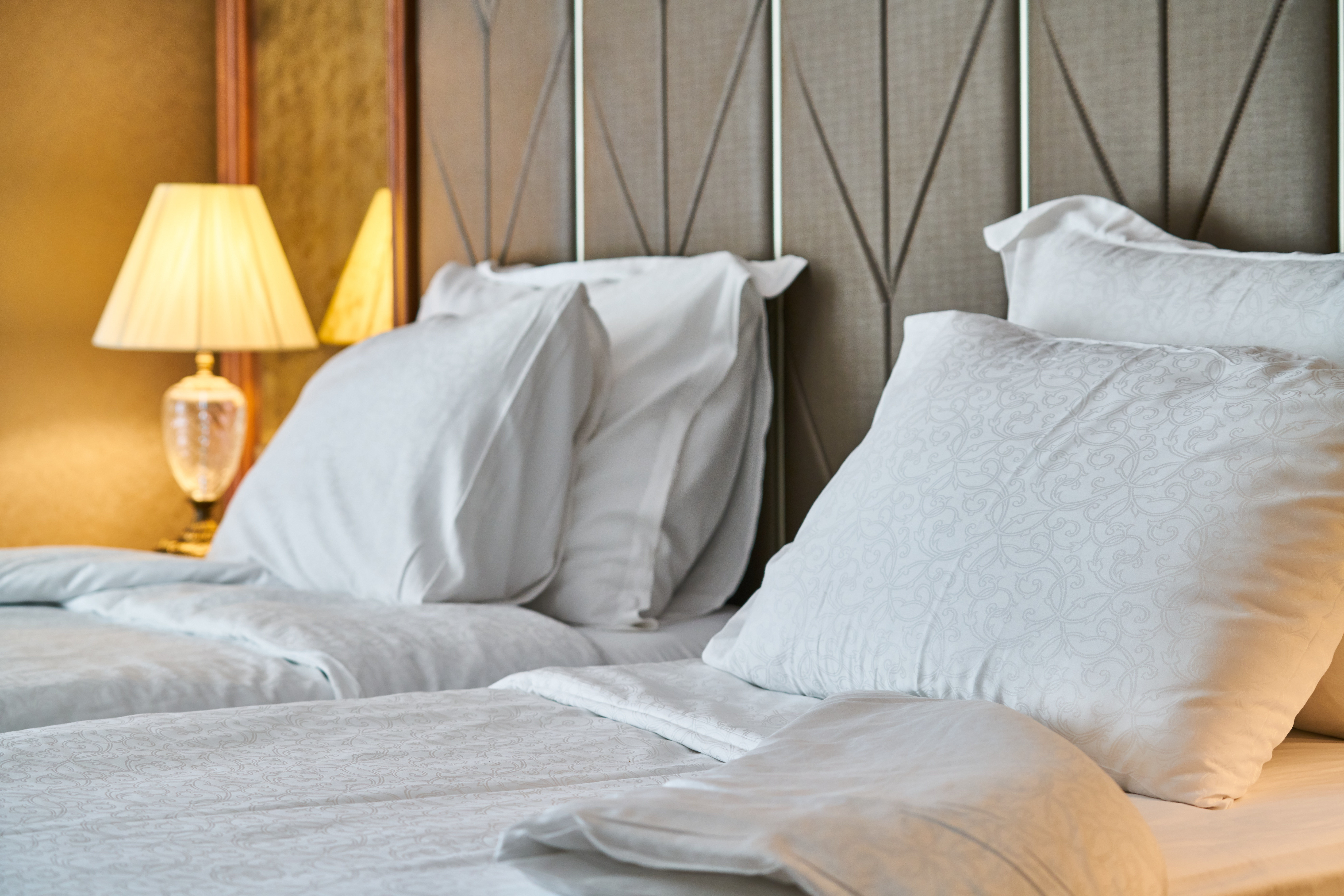 Bed furniture with lamp and pillows