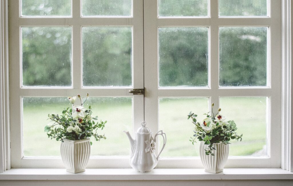 Two plants and glass near the window