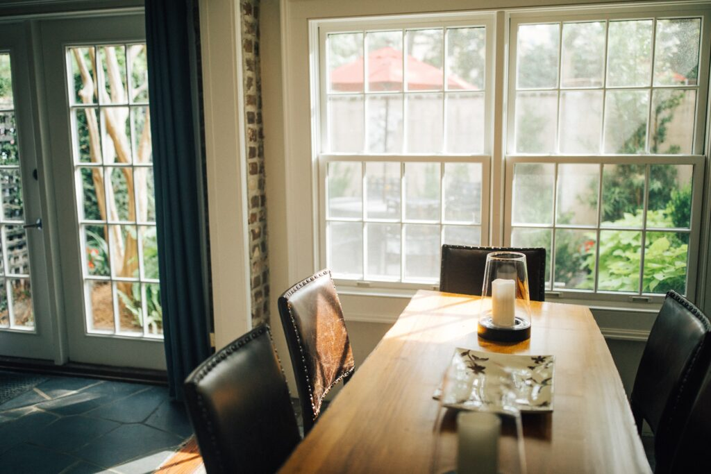 A dining table near the window