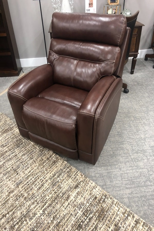 A brown leather recliner