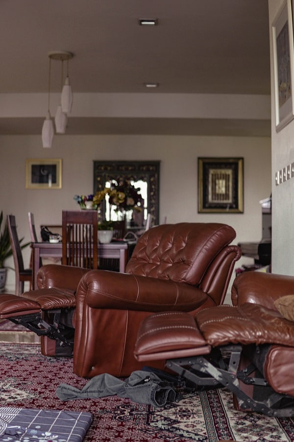 Recliners with leg rest lifted
