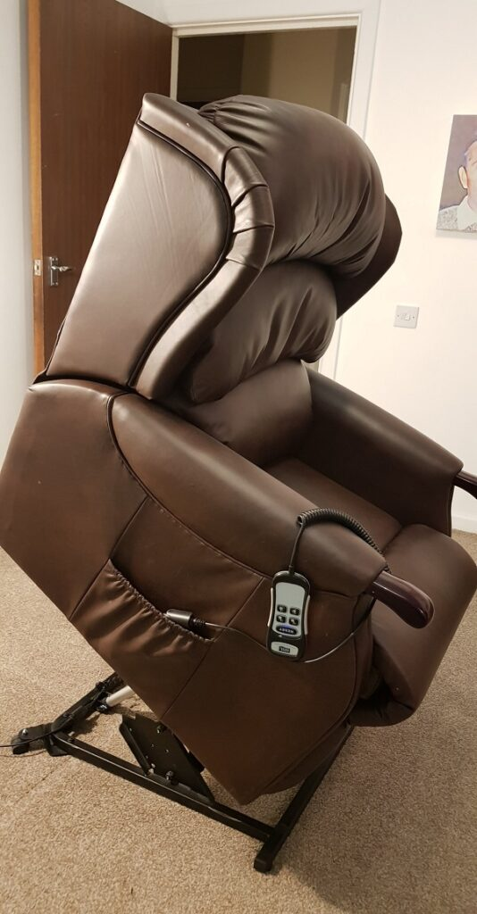 Recliner being turned over