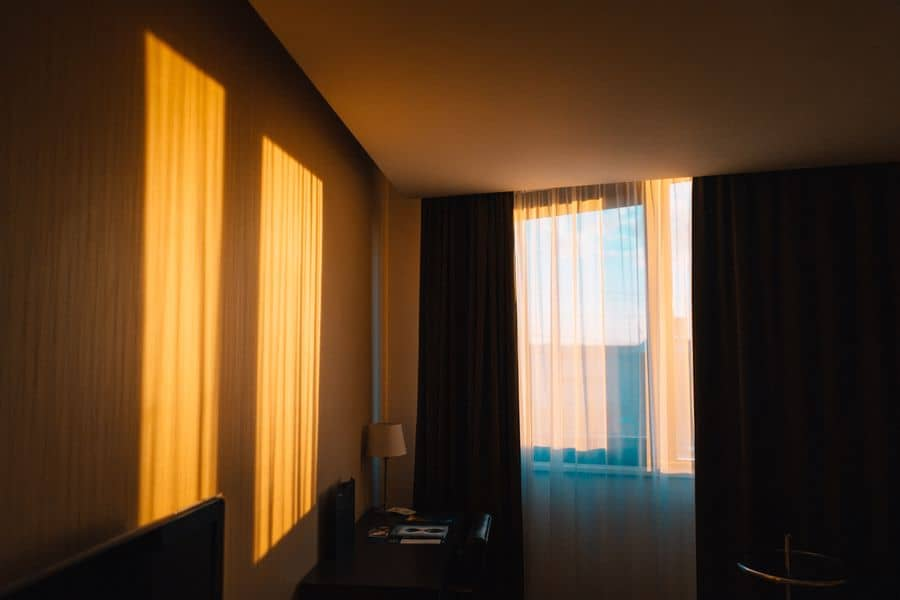 Golden hour light in a room full of curtains