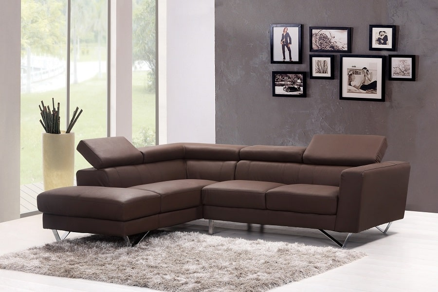 Living space with brown leather sectional sofa and gray rug