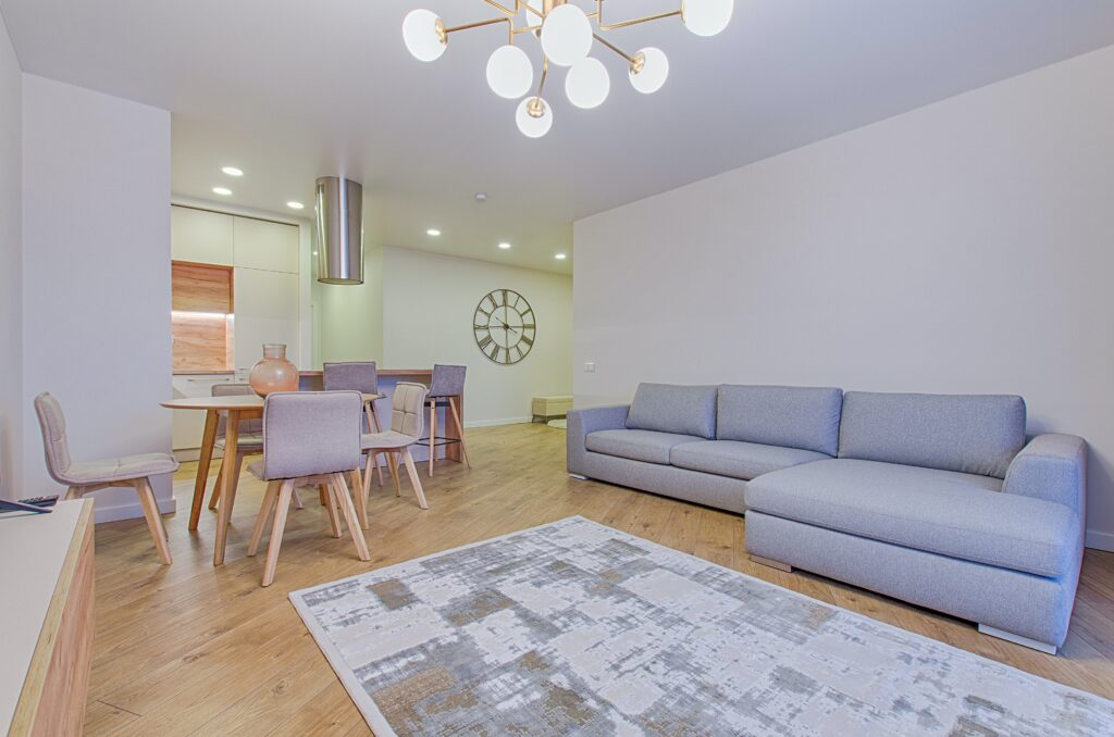 Living room with gray toned furniture