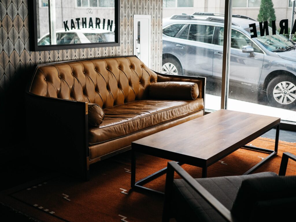 A brown stylish couch in a waiting room