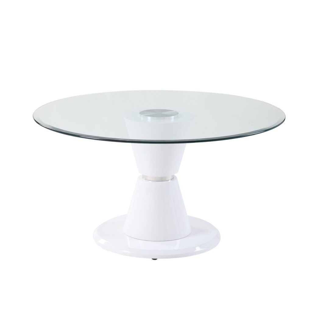 Pier 1 Glass Top Round Dining Table with Pedestal Base