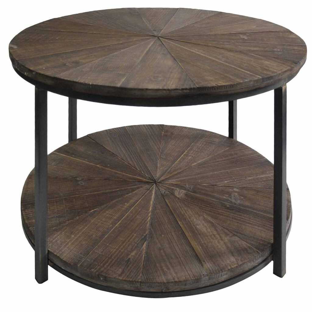 Pier 1 Laurel Round Wood Planked Coffee Table