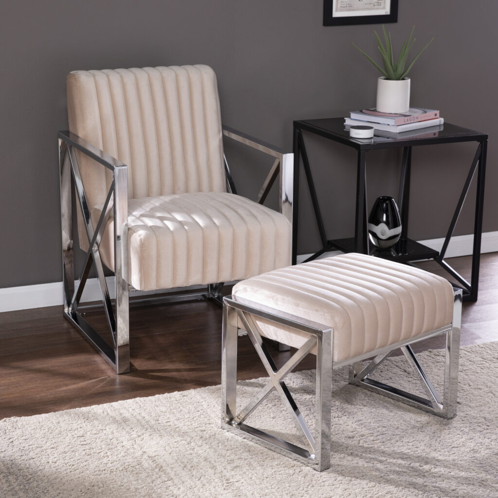 Pier 1 Shawn Velveteen Accent Chair and Ottoman