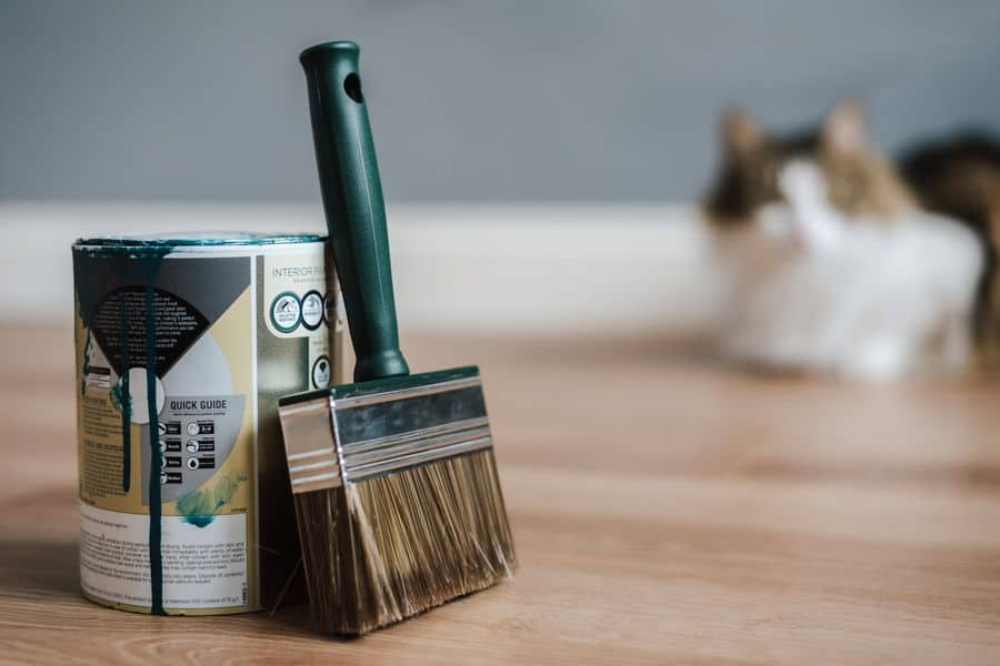 Paint can and paint brush