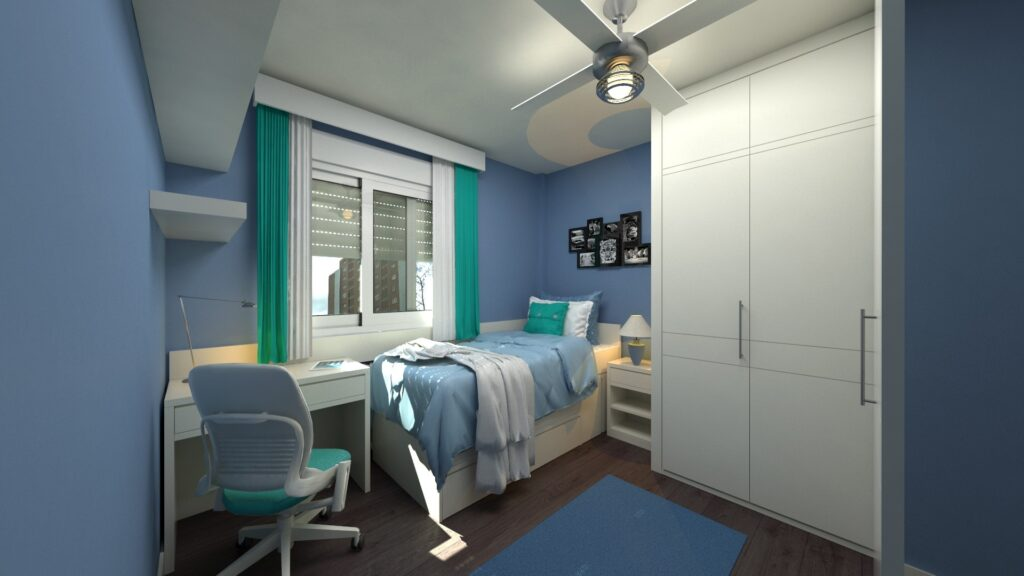 A small bedroom with a desk and a chair
