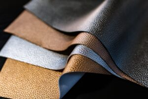 Close up shot of sheets of leather fabric