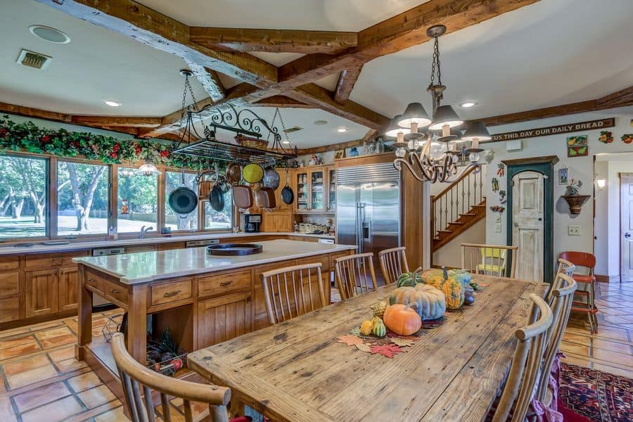 Kitchen with wood furniture